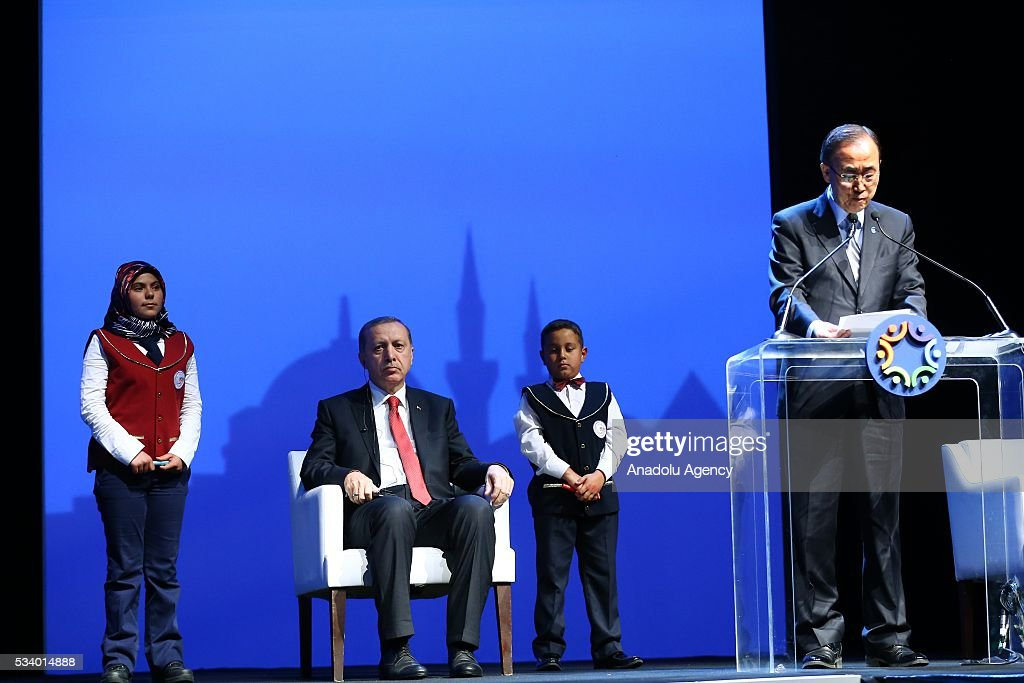 United Nations (UN) Secretary General Ban Ki-moon (right) delivers a speech as Turkish President Recep Tayyip Erdogan (left 2) sits next to him during the World Humanitarian Summit closing ceremony at the Istanbul Congress Center in Istanbul, Turkey on May 24, 2016.