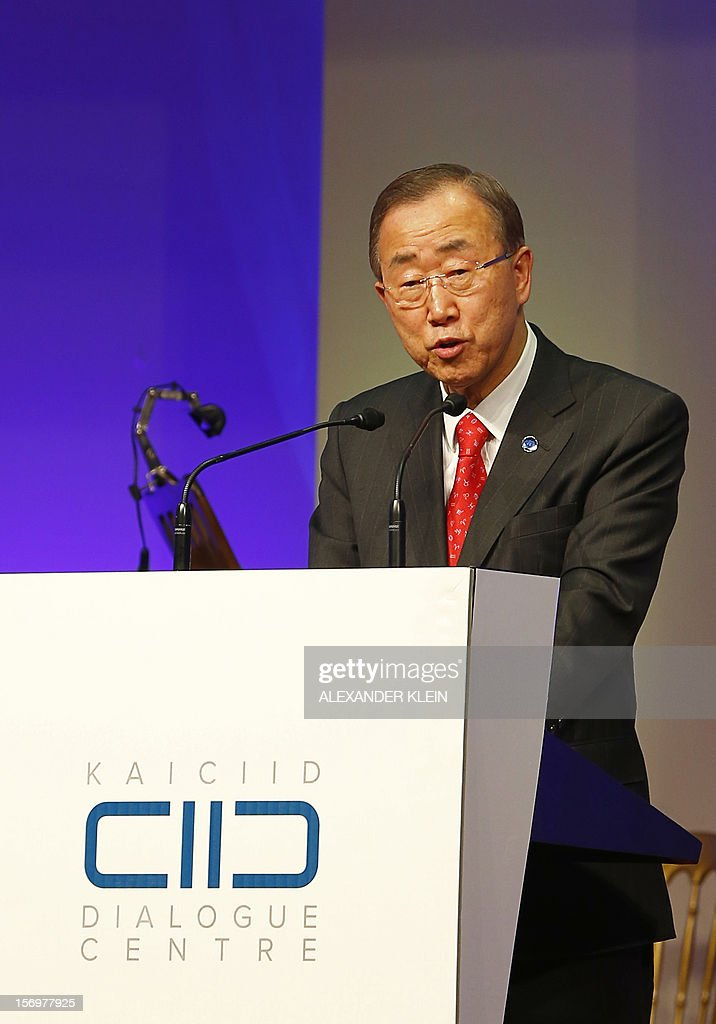 United Nations Secretary- General Ban Ki-Moon, delivers a speech during the inauguration ceremony of the KAICIID Center (King Abdullah Bin Abdulaziz International Centre for Interreligious and Intercultural Dialogue) held at the Hofburg in Vienna on November 26, 2012.