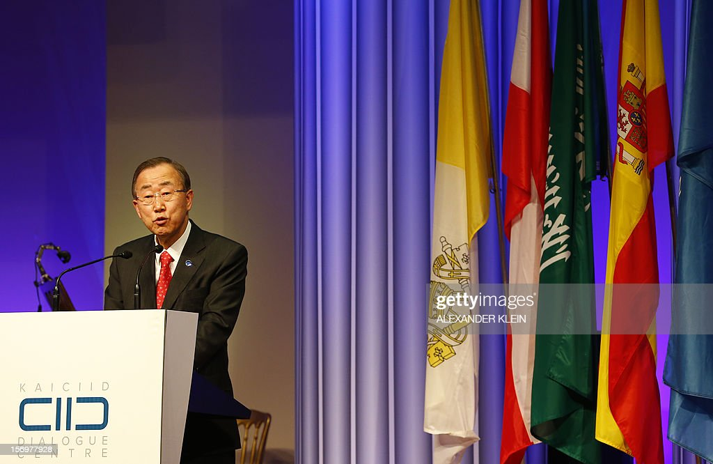 United Nations Secretary -General Ban Ki-Moon, delivers a speech during the inauguration ceremony of the KAICIID Center (King Abdullah Bin Abdulaziz International Centre for Interreligious and Intercultural Dialogue) held at the Hofburg in Vienna on November 26, 2012.