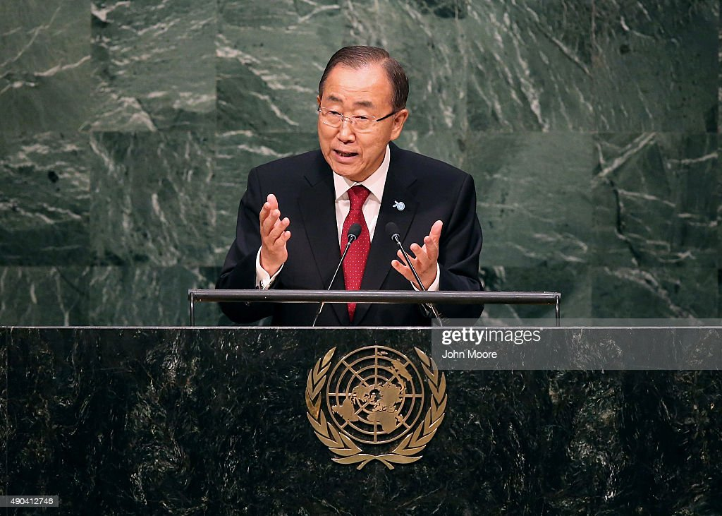 United Nations Secretary General <a gi-track='captionPersonalityLinkClicked' href=/galleries/search?phrase=Ban+Ki-moon&family=editorial&specificpeople=206144 ng-click='$event.stopPropagation()'>Ban Ki-moon</a> delivers opening remarks at the United Nations General Assembly at U.N. headquarters on September 28, 2015 in New York City. The ongoing war in Syria and the refugee crisis it has spawned are playing a backdrop to this year's 70th annual General Assembly meeting of global leaders.