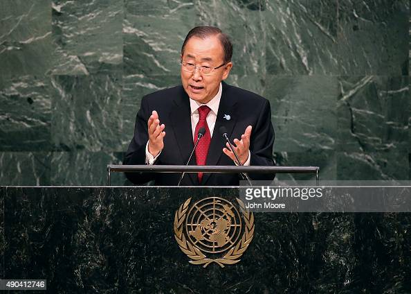 United Nations Secretary General Ban Kimoon delivers opening remarks at the United Nations General Assembly at UN headquarters on September 28 2015...