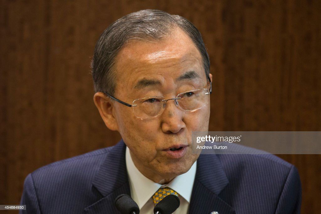 United Nations Secretary General Ban Ki-moon holds a press conference regarding the outbreak of Ebola throughout western Africa on September 5, 2014 in New York City. Earlier this week the World Health Organization announced that the death toll from Ebola had passed 1,900 people.