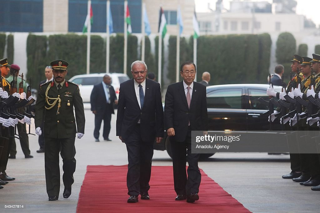 United Nations Secretary General Ban Ki-moon (R) is being welcomed by Palestinian Foreign Minister Riyad Al-Maliki (L) in Ramallah, West Bank on June 28, 2016.