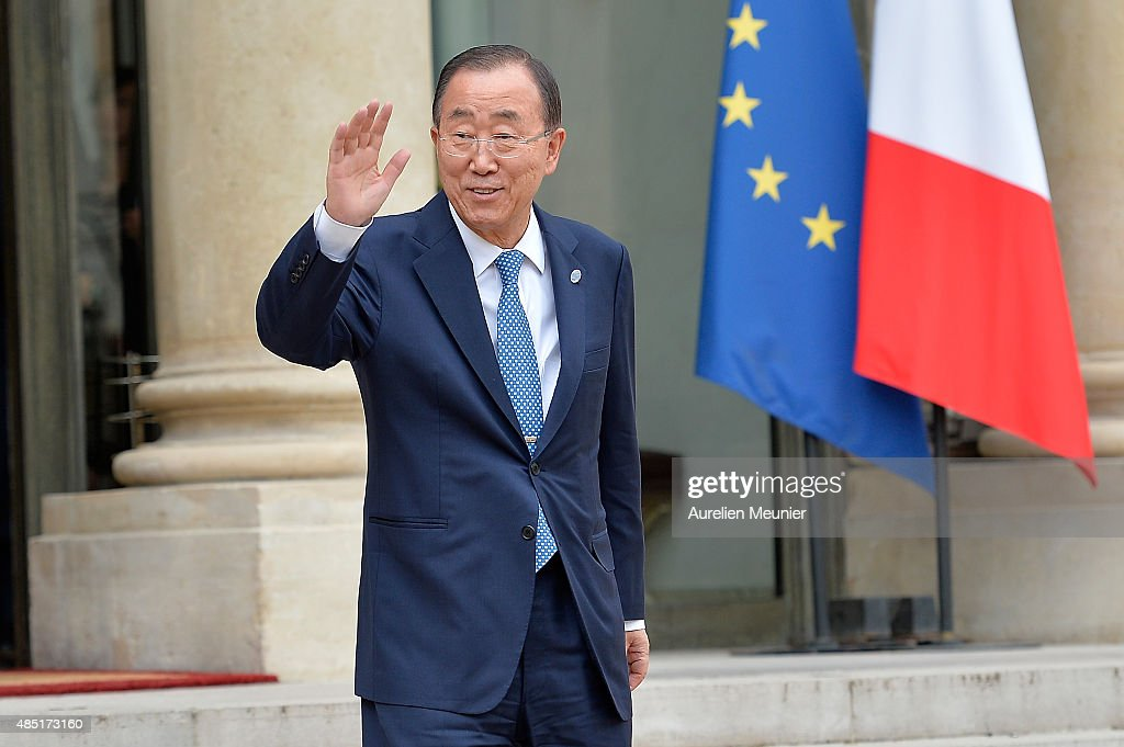 United Nations Secretary General Ban Ki-Moon leaves the Elysee Palace after a lunch with French President Francois Hollande on August 25, 2015 in Paris, France. UN chief <a gi-track='captionPersonalityLinkClicked' href=/galleries/search?phrase=Ban+Ki-moon&family=editorial&specificpeople=206144 ng-click='$event.stopPropagation()'>Ban Ki-moon</a> is expected to discuss the migrant crisis in Europe and the worsening situation in eastern Ukraine.