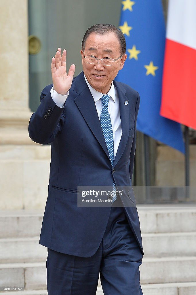 United Nations Secretary General <a gi-track='captionPersonalityLinkClicked' href=/galleries/search?phrase=Ban+Ki-Moon&family=editorial&specificpeople=206144 ng-click='$event.stopPropagation()'>Ban Ki-Moon</a> leaves the Elysee Palace after a lunch with French President Francois Hollande on August 25, 2015 in Paris, France. UN chief Ban Ki-moon is expected to discuss the migrant crisis in Europe and the worsening situation in eastern Ukraine.