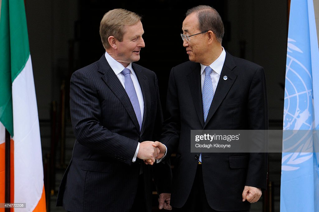 United Nations Secretary General Ban Ki-Moon meets with Irish Taoiseach Enda Kenny at Government Buildings on May 26, 2015 in Dublin, Ireland. The Secretary-General is on a three-day visit marking The United Nations' 70th anniversary and Ireland's 60th year as a member of the international organization.