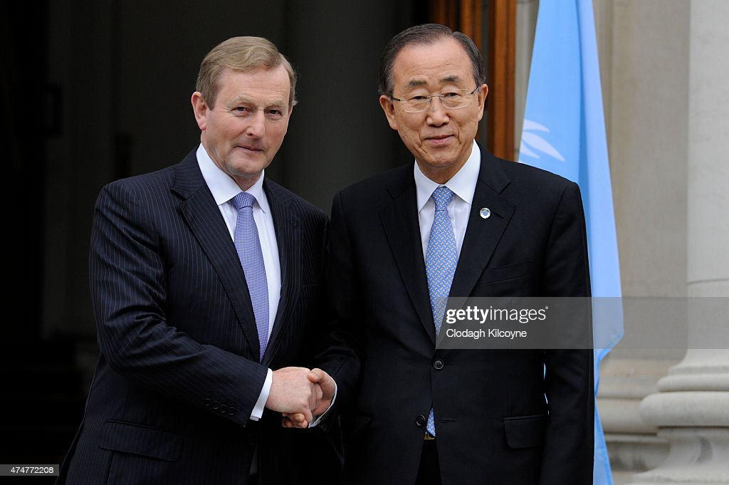 United Nations Secretary General <a gi-track='captionPersonalityLinkClicked' href=/galleries/search?phrase=Ban+Ki-Moon&family=editorial&specificpeople=206144 ng-click='$event.stopPropagation()'>Ban Ki-Moon</a> meets with Irish Taoiseach <a gi-track='captionPersonalityLinkClicked' href=/galleries/search?phrase=Enda+Kenny&family=editorial&specificpeople=5129605 ng-click='$event.stopPropagation()'>Enda Kenny</a> at Government Buildings on May 26, 2015 in Dublin, Ireland. The Secretary-General is on a three-day visit marking The United Nations' 70th anniversary and Ireland's 60th year as a member of the international organization.