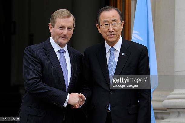 United Nations Secretary General Ban KiMoon meets with Irish Taoiseach Enda Kenny at Government Buildings on May 26 2015 in Dublin Ireland The...