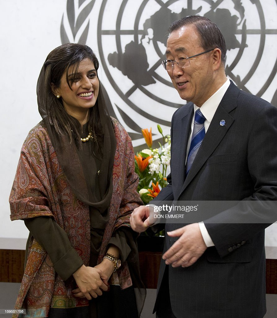 United Nations Secretary General Ban Ki-moon (R) meets with Pakistani Foreign Minister Hina Rabbani Khar on January 15, 2013 at the United Nations in New York.