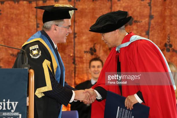 United Nations Secretary General Ban KiMoon recieves an Honorary Doctorate from University of Auckland ProChancellor Peter Kiely at the University of...