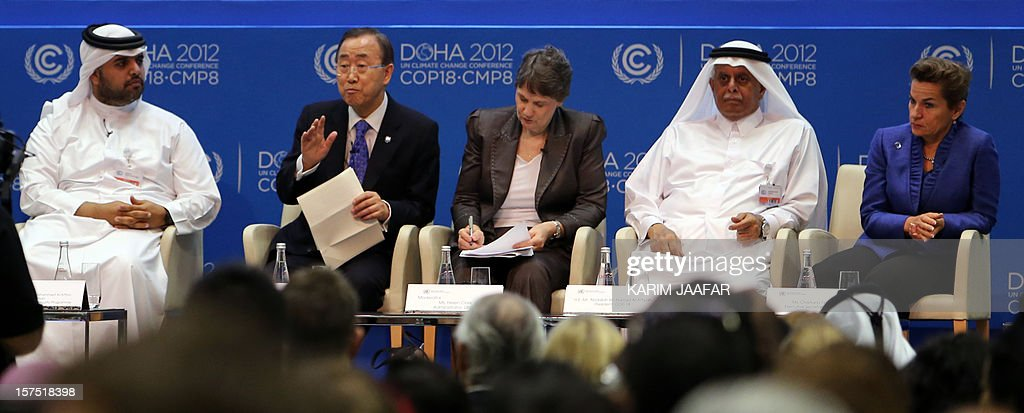 United Nations Secretary General Ban Ki-moon (2nd L) sits with officials during a meeting at the 18th United Nations Convention on Climate Change on December 4, 2012 in the Qatari capital Doha. UN chief Ban Ki-moon urged negotiators at global climate talks in Doha to show 'strong political commitment' to reducing earth-damaging greenhouse gas emissions.