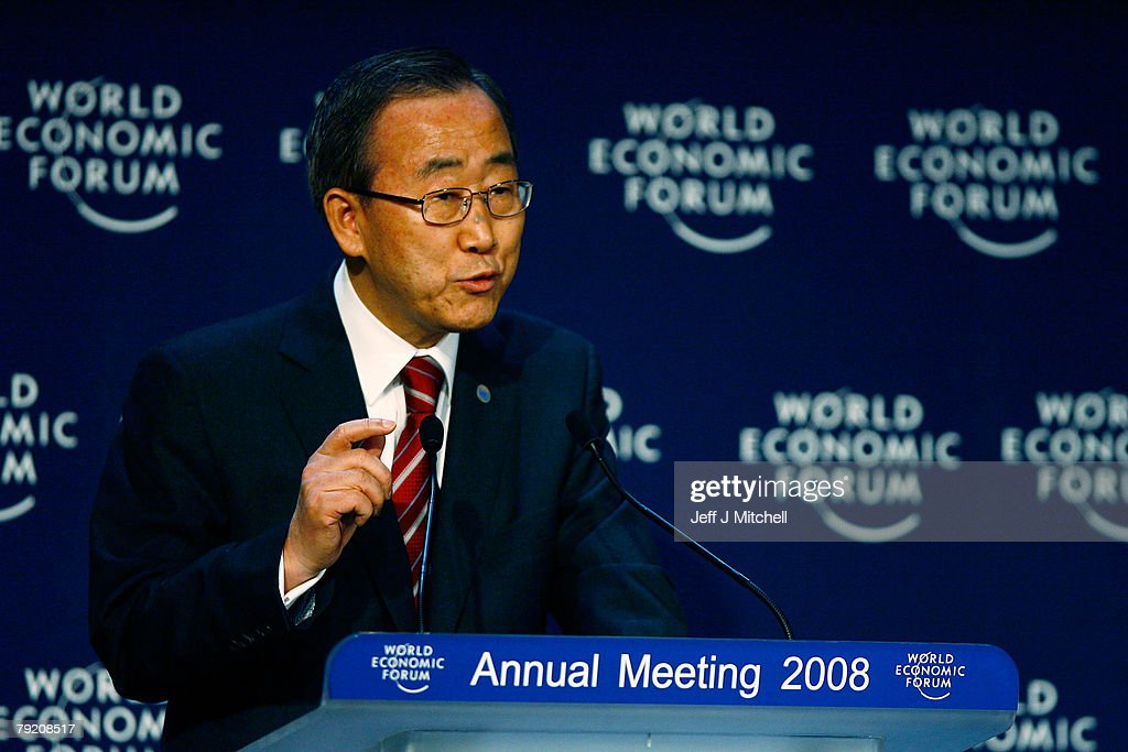 United Nations Secretary General Ban Ki-Moon speaks at a press conference during the third day of the World Economic Forum on January 25, 2008 in Davos, Switzerland. Some of the world's top business people, heads of state and representatives of NGOs will meet at the forum until Sunday.