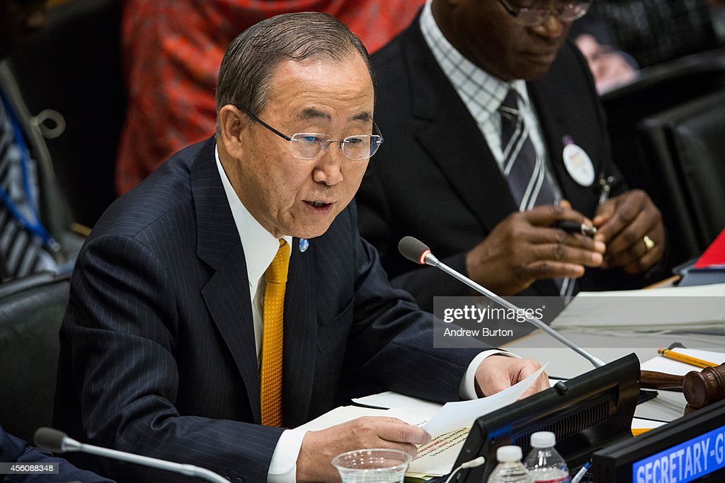 United Nations Secretary General <a gi-track='captionPersonalityLinkClicked' href=/galleries/search?phrase=Ban+Ki-Moon&family=editorial&specificpeople=206144 ng-click='$event.stopPropagation()'>Ban Ki-Moon</a> speaks at a special high-level meeting regarding the Ebola virus outbreak in west Africa during the 69th United Nations General Assembly on September 25, 2014 in New York City. The UN General Assembly brings together political leaders from around the worldto report on issues and discuss solutions.