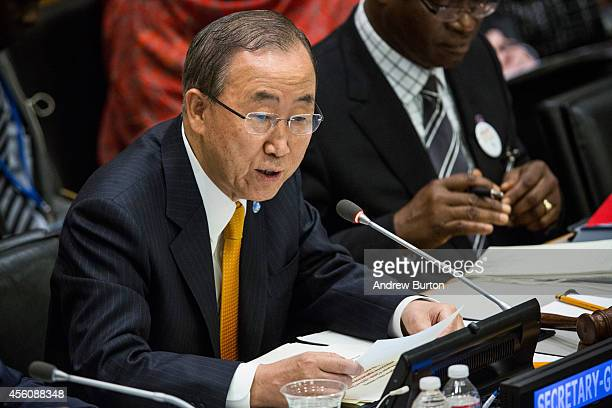 United Nations Secretary General Ban KiMoon speaks at a special highlevel meeting regarding the Ebola virus outbreak in west Africa during the 69th...