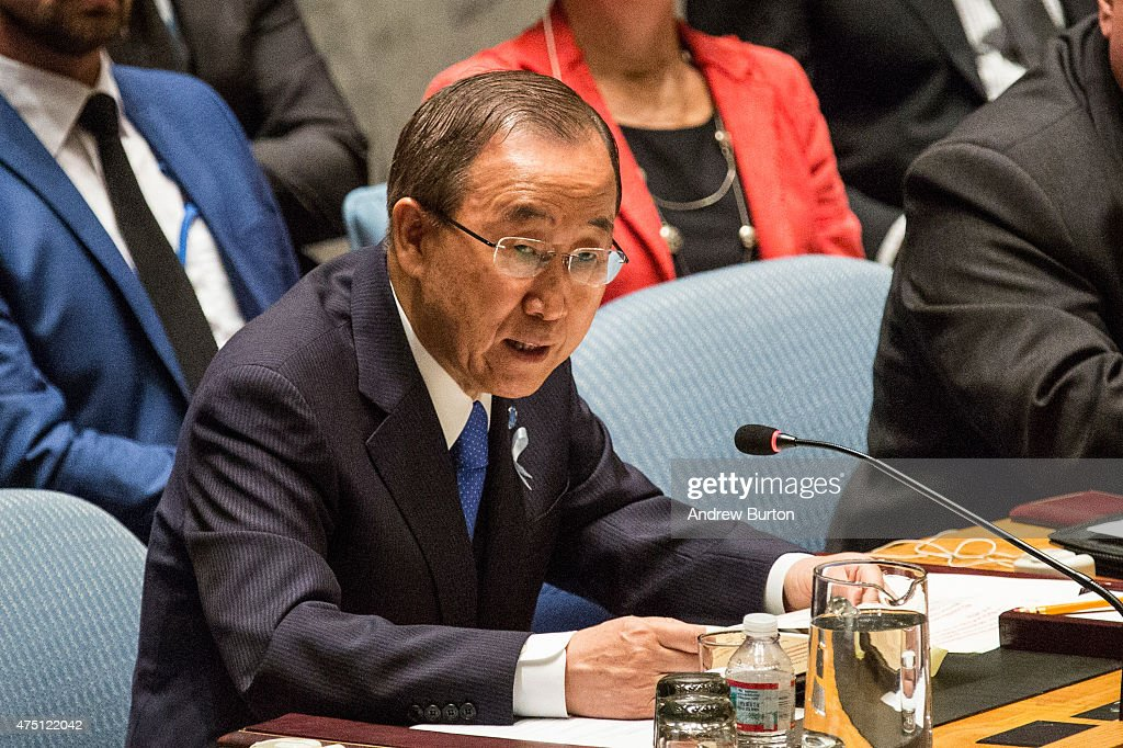 United Nations Secretary General Ban Kimoon speaks at a United Nations Security Council meeting on May 29 2015 in New York City The meeting focused...