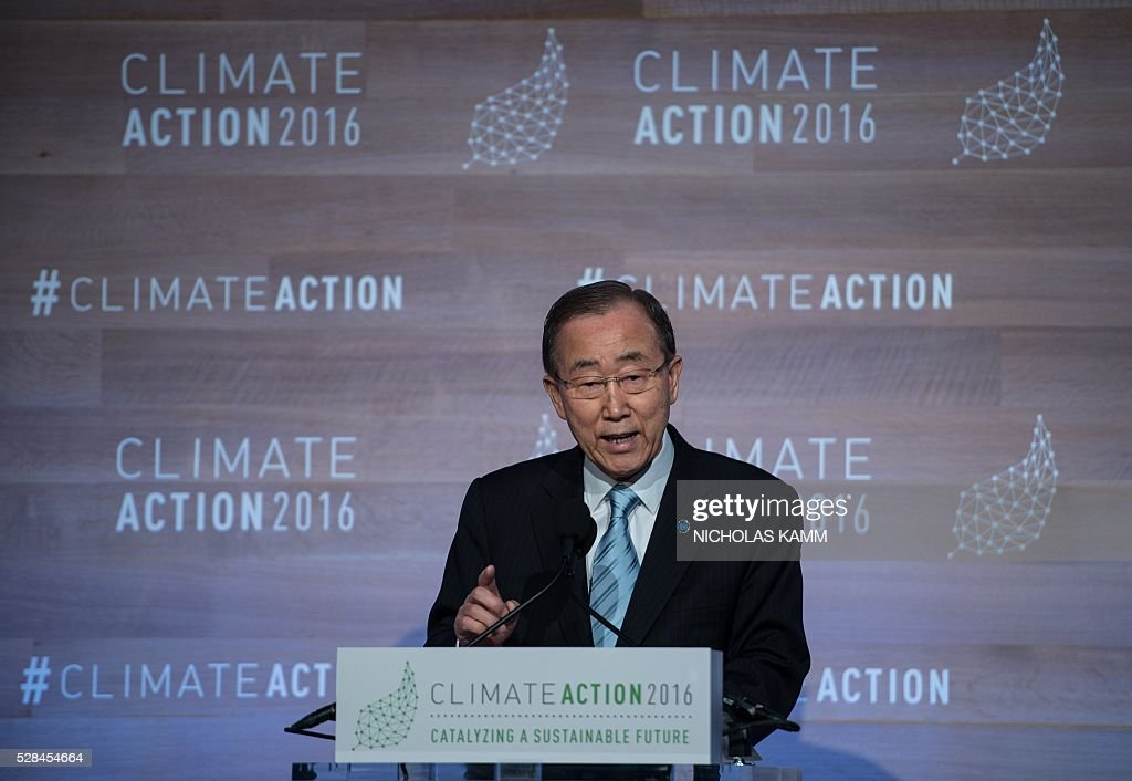 United Nations Secretary General Ban Ki-moon speaks at the opening session of the Climate Action 2016 conference in Washington, DC, on May 5, 2016. / AFP / NICHOLAS