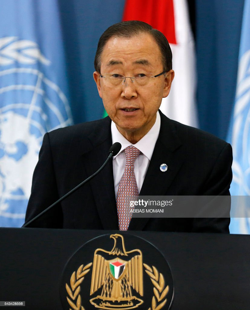 United Nations Secretary General Ban Ki-moon speaks during a joint press conference with Palestinian president after a meeting on June 28, 2016 in the West Bank city of Ramallah. Ban urged Israeli Prime Minister Benjamin Netanyahu to take 'courageous steps' toward peace as he visited Israel and the Palestinian territories. MOMANI