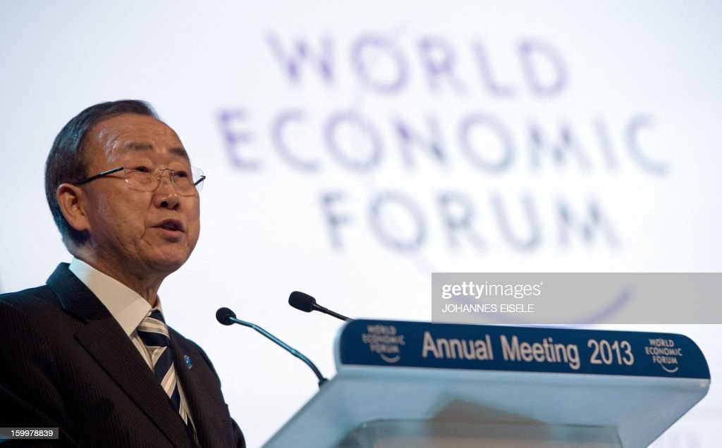 United Nations Secretary General Ban Ki-moon speaks during a session of the 2013 World Economic Forum Annual Meeting on January 24, 2013 at the Swiss resort of Davos. The World Economic Forum (WEF) is taking place from January 23 to 27.