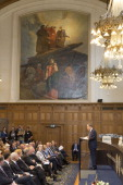 United Nations Secretary General Ban Kimoon speaks during an event to mark the centennial anniversary of the Peace Palace at the Peace Palace on...