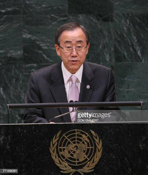 United Nations Secretary General Ban Kimoon speaks to the informal meeting on 'International Day of NonViolence' during the 62nd session of the UN...