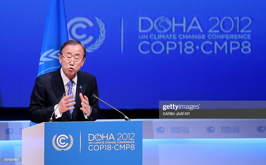 United Nations Secretary General Ban Ki-moon talks during the opening ceremony of the United Nations Framework Convention on Climate Change (UNFCCC) in Doha on December 4, 2012. Ki-moon said the world was faced by a global warming 'crisis' and urged bickering negotiators at climate talks in Doha to show 'strong political commitment' and compromise. AFP PHOTO / AL-WATAN DOHA / KARIM JAAFAR == QATAR OUT ==