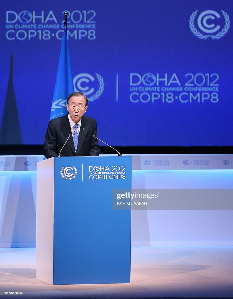 United Nations Secretary General Ban Ki-moon talks during the opening ceremony of the United Nations Framework Convention on Climate Change (UNFCCC) in the Qatari capital Doha on December 4, 2012. Ki-moon said the world was faced by a global warming 'crisis' and urged bickering negotiators at climate talks in Doha to show 'strong political commitment' and compromise.