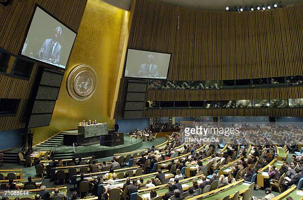 United Nations Secretary General Kofi Annan speaks 31 May during the opening plenary session of the United Nations High Level meeting on AIDS in the...