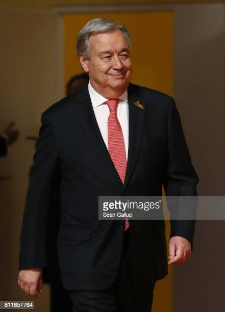 United Nations SecretaryGeneral Antonio Guterres arrives for the first day of the G20 economic summit on July 7 2017 in Hamburg Germany The G20 group...