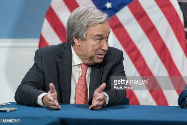 United Nations SecretaryGeneral Antonio Guterres is seen making remarks during the photo op Following a meeting between New York City Mayor de Blasio...