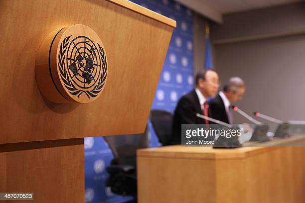 United Nations SecretaryGeneral Ban Kimoon addresses the media at an endofyear press conference on December 16 2013 at UN headquarters in New York...