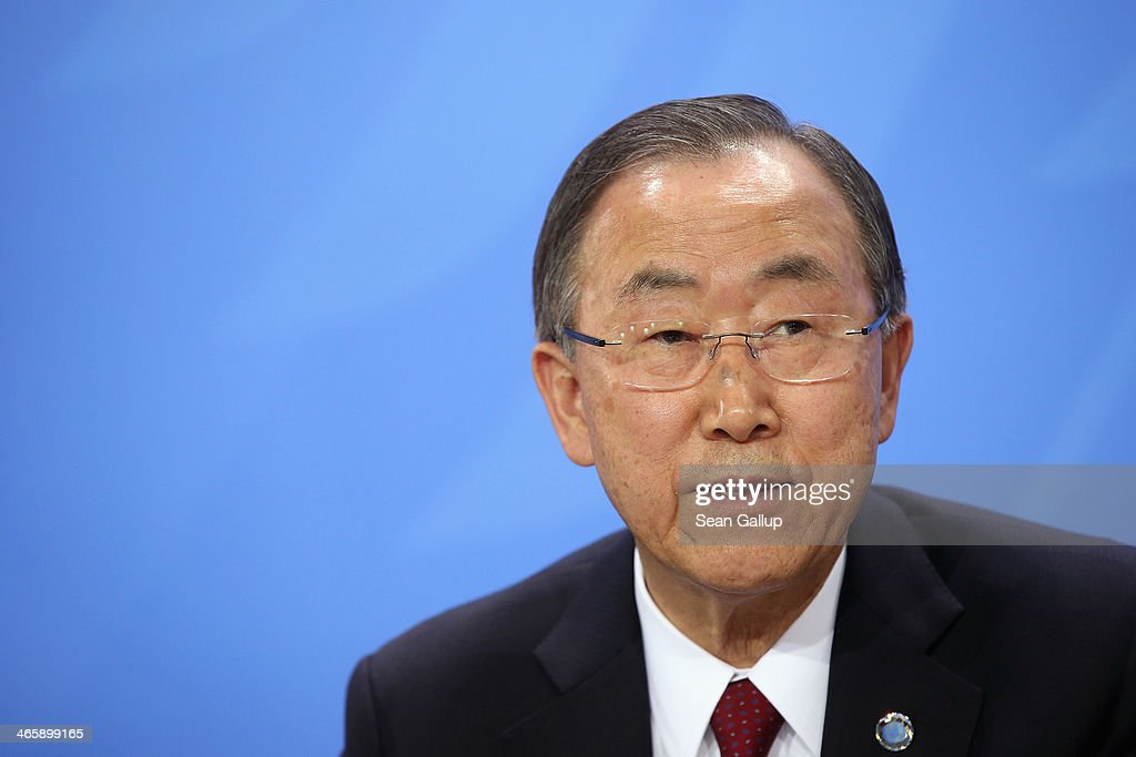 United Nations Secretary-General Ban Ki-moon and German Chancellor Angela Merkel (not pictured) speak to the media following talks at the Chancellery on January 30, 2014 in Berlin, Germany. Ban Ki-moon called on Germany to take a stronger role in political leadership in the world.
