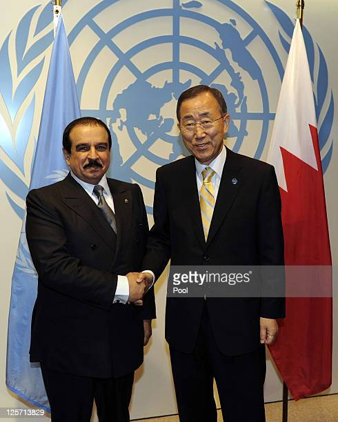 United Nations SecretaryGeneral Ban Kimoon and King Hamad bin Isa Al Khalifa the King of Bahrain meet at the 66th General Assembly Session at the...