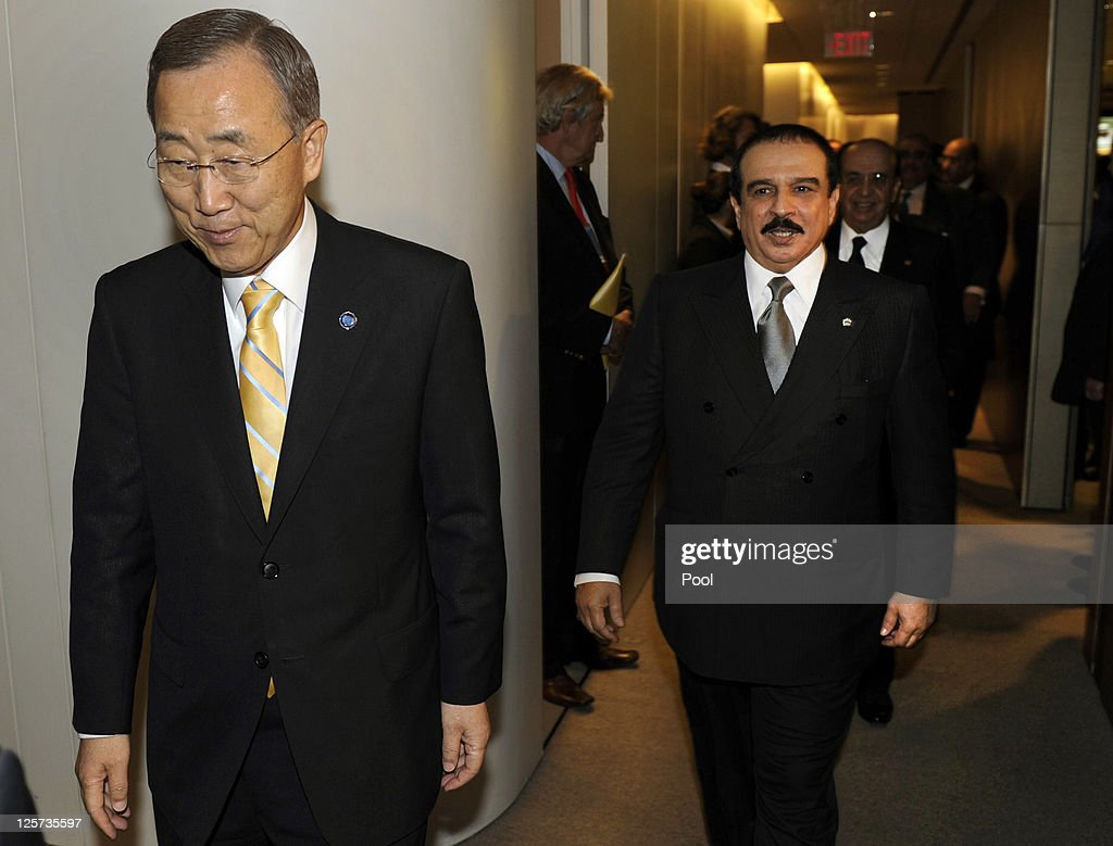 United Nations Secretary-General Ban Ki-moon (L) and King <a gi-track='captionPersonalityLinkClicked' href=/galleries/search?phrase=Hamad+Bin+Isa+Al+Khalifa&family=editorial&specificpeople=2275451 ng-click='$event.stopPropagation()'>Hamad Bin Isa Al Khalifa</a> of Bahrain meet at the 66th General Assembly Session at the United Nations on September 21, 2011 in New York City. The annual event, which gathers more than 100 heads of state and government for high level meetings on nuclear safety, regional conflicts, health and nutrition and environment issues.
