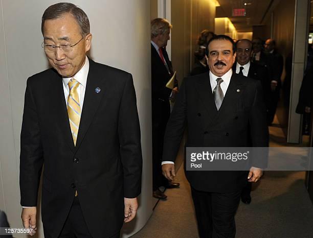 United Nations SecretaryGeneral Ban Kimoon and King Hamad Bin Isa Al Khalifa of Bahrain meet at the 66th General Assembly Session at the United...