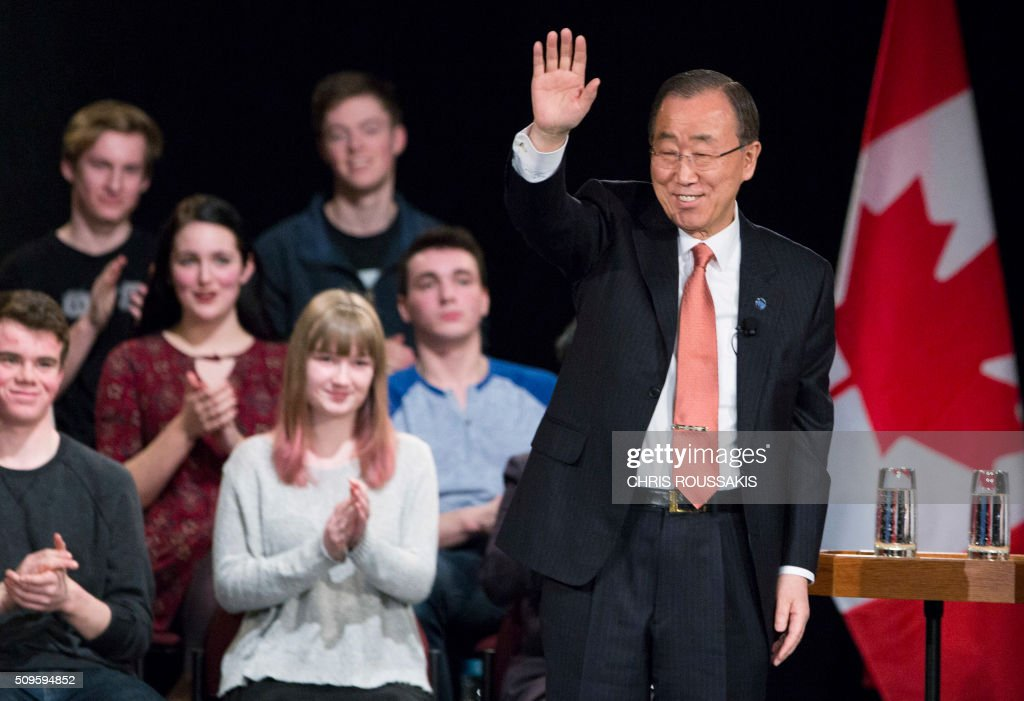 United Nations Secretary-General Ban Ki-moon arrives at Glebe Collegiate Institute in Ottawa, Ontario on February 11, 2016. / AFP / (Chris Roussakis/AFP) / Chris Roussakis