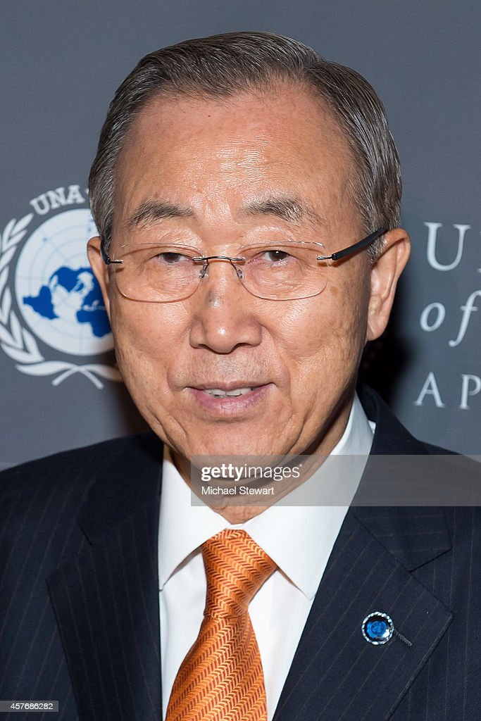 United Nations Secretary-General <a gi-track='captionPersonalityLinkClicked' href=/galleries/search?phrase=Ban+Ki-moon&family=editorial&specificpeople=206144 ng-click='$event.stopPropagation()'>Ban Ki-moon</a> attends the 2014 Global Leadership Dinner at Cipriani 42nd Street on October 22, 2014 in New York City.