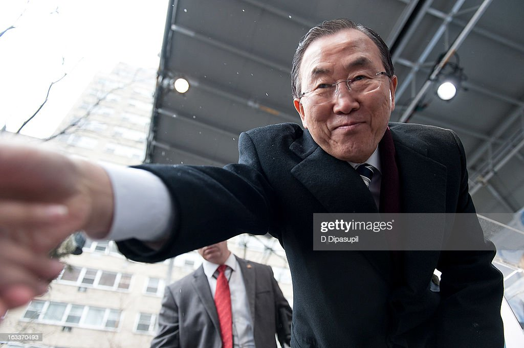 United Nations Secretary-General <a gi-track='captionPersonalityLinkClicked' href=/galleries/search?phrase=Ban+Ki-Moon&family=editorial&specificpeople=206144 ng-click='$event.stopPropagation()'>Ban Ki-Moon</a> attends the March On March 8 at the United Nations on March 8, 2013 in New York City.