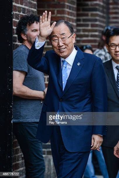 United Nations SecretaryGeneral Ban KiMoon enters the 'The Late Show With Stephen Colbert' taping at Ed Sullivan Theater on September 17 2015 in New...