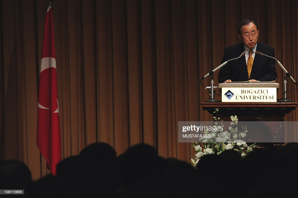 United Nations Secretary-General Ban Ki-Moon gives a conference at Bogazici University in Istanbul on May 21, 2010.
