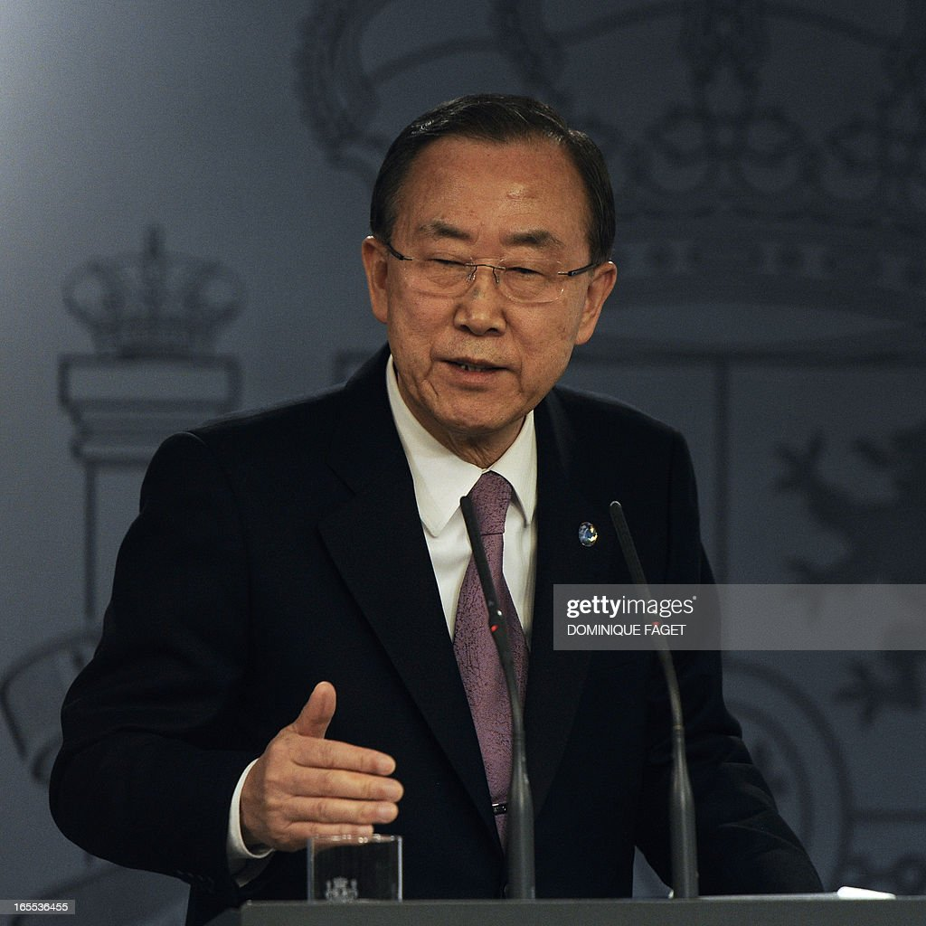 United Nations Secretary-General Ban Ki-Moon gives a joint press conference with Spanish Prime Minister and PP (Popular Party) leader after a meeting at La Moncloa Palace in Madrid on April 4, 2013.