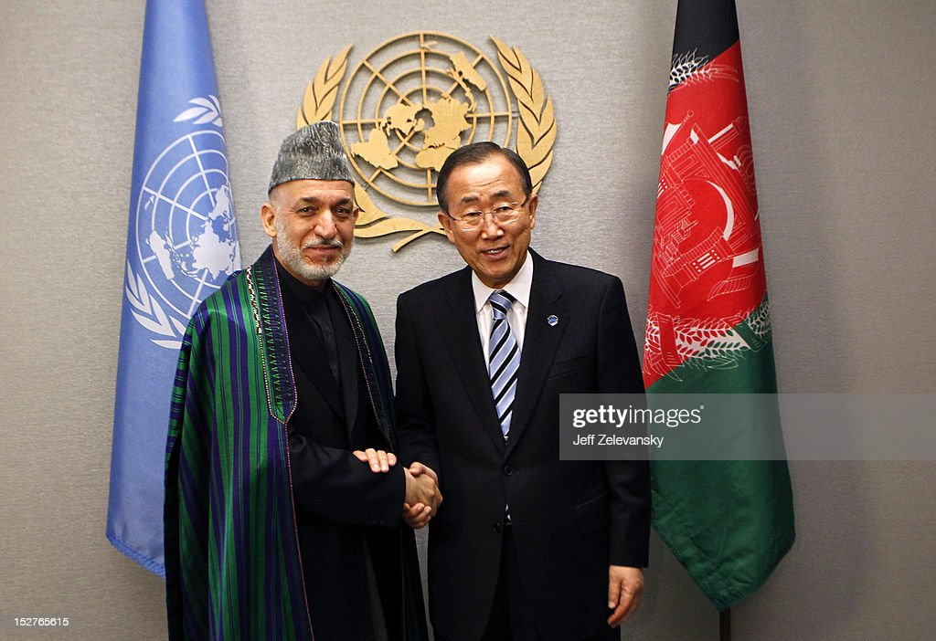 United Nations SecretaryGeneral Ban Kimoon greets Hamid Karzai President of Afghanistan during the 67th UN General Assembly meeting on September 25...