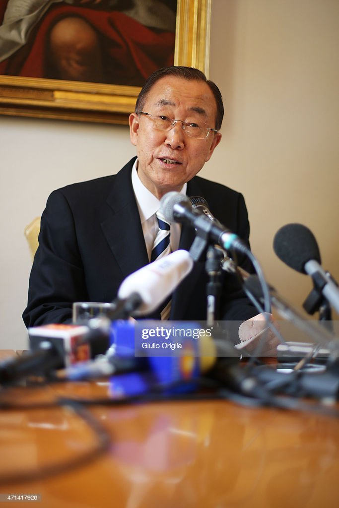 United Nations Secretary-General Ban Ki-moon holds a press conference at the end of the workshop themed 'Protect the Earth, Dignify Humanity' at the Pontifical Academy of Sciences at Casina Pio IV on April 28, 2015 in Vatican City, Vatican. The one day international symposium has been organized by the Pontifical Academy of Sciences and will include a video message to participants from Pope Francis about the Christian imperative of stewardship of creation.