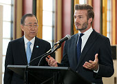 United Nations SecretaryGeneral Ban Kimoon listens as UNICEF Goodwill Ambassador David Beckham speaks at the Unveiling of A Digital Installation To...