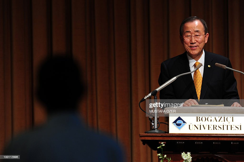United Nations Secretary-General Ban Ki-Moon listens to a question from a student during a conference at Bogazici University in Istanbul on May 21, 2010.