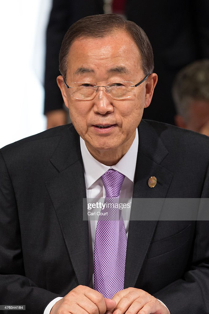 United Nations Secretary-General <a gi-track='captionPersonalityLinkClicked' href=/galleries/search?phrase=Ban+Ki-Moon&family=editorial&specificpeople=206144 ng-click='$event.stopPropagation()'>Ban Ki-Moon</a> looks on at the beginning of a working session with outreach guests at the summit of G7 nations at Schloss Elmau on June 8, 2015 near Garmisch-Partenkirchen, Germany. In the course of the two-day summit G7 leaders are scheduled to discuss global economic and security issues, as well as pressing global health-related issues, including antibiotics-resistant bacteria and Ebola. Several thousand protesters have announced they will seek to march towards Schloss Elmau and at least 17,000 police are on hand to provide security.