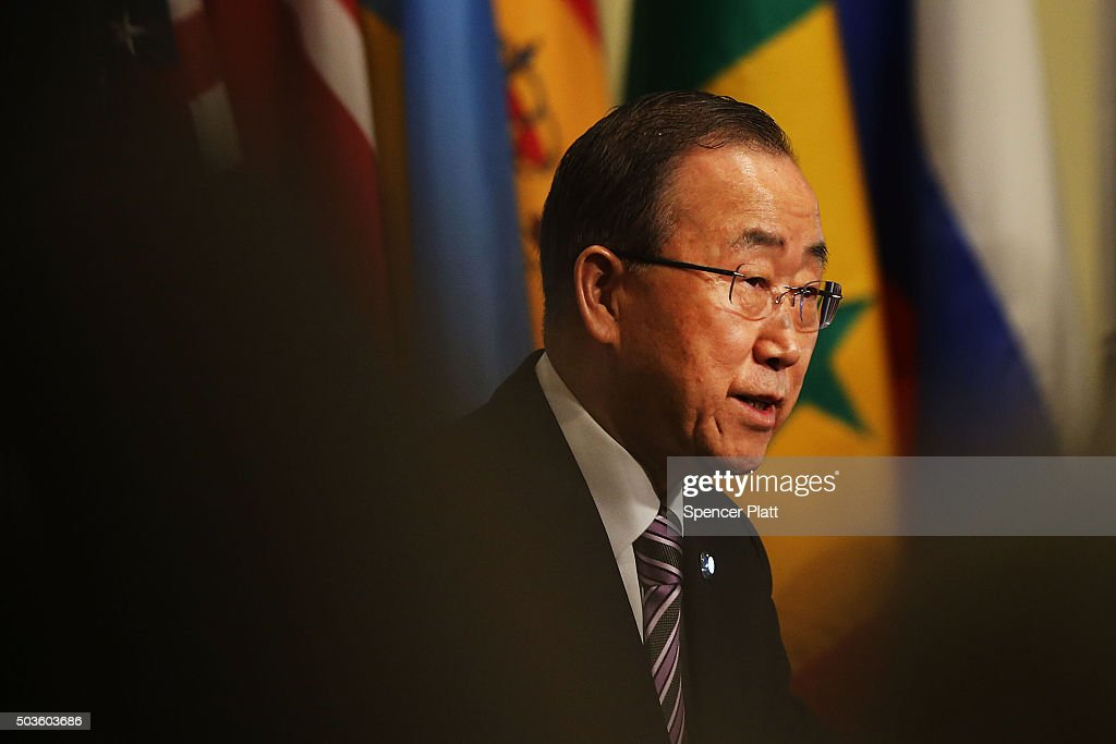 United Nations Secretary-General Ban Ki-moon makes comments to the media on the situation in North Korea before the Security Council holds a closed-door meeting to discuss the next steps at the United Nations on January 6, 2016 in New York City. North Korea claimed yesterday to have successfully tested a hydrogen bomb.
