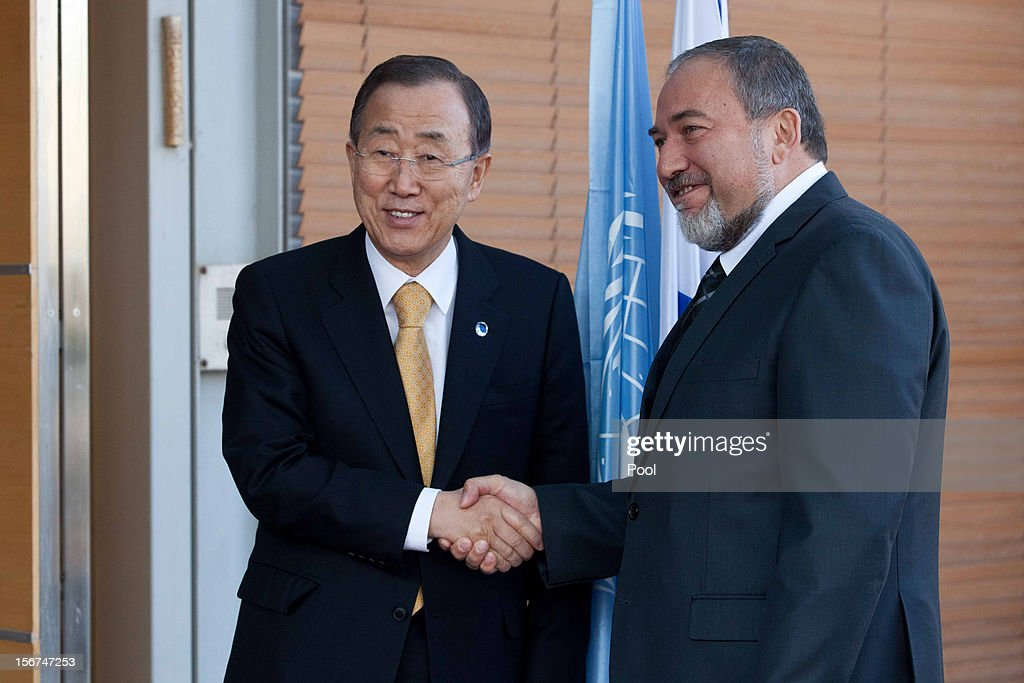 United Nations Secretary-General Ban Ki-moon (L) meets Israel's Minister of Foreign Affairs <a gi-track='captionPersonalityLinkClicked' href=/galleries/search?phrase=Avigdor+Lieberman&family=editorial&specificpeople=652650 ng-click='$event.stopPropagation()'>Avigdor Lieberman</a> on November 20, 2012 in Jerusalem, Israel. Hamas militants and Israel are continuing talks aimed at a ceasefire as the death toll in Gaza reaches over 100 with three Israelis also having been killed by rockets fired by Palestinian militants.