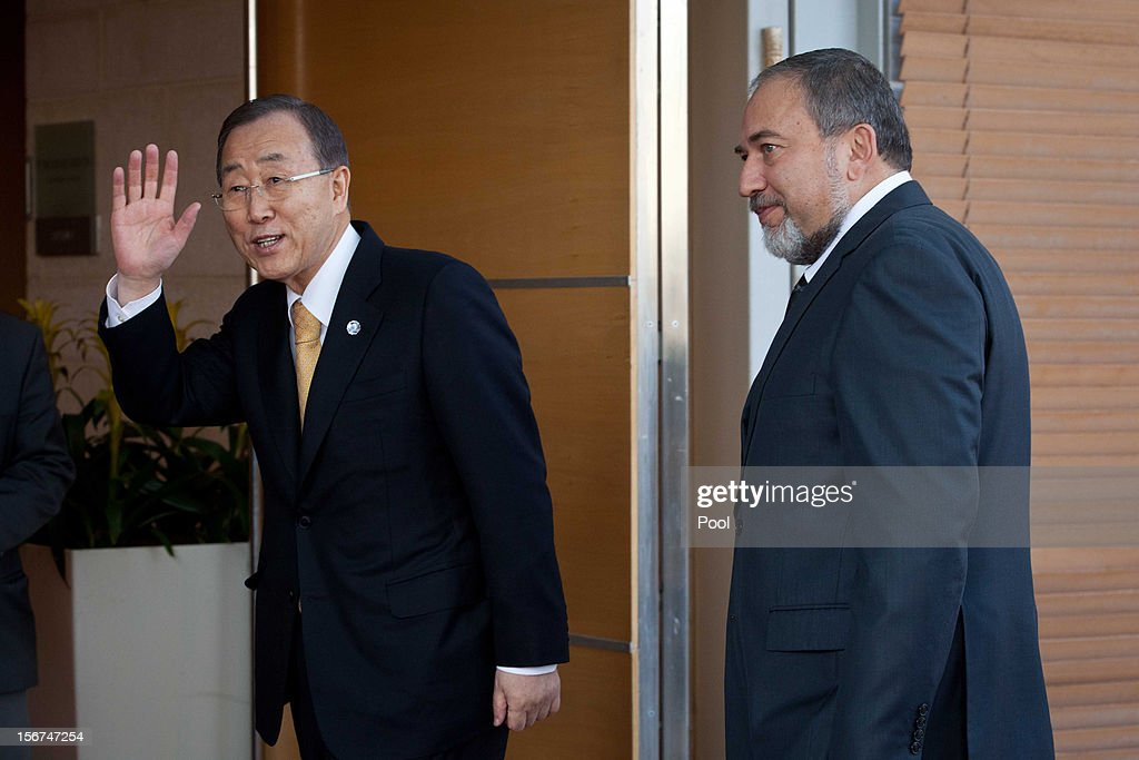United Nations Secretary-General Ban Ki-moon (L) meets Israel's Minister of Foreign Affairs Avigdor Lieberman on November 20, 2012 in Jerusalem, Israel. Hamas militants and Israel are continuing talks aimed at a ceasefire as the death toll in Gaza reaches over 100 with three Israelis also having been killed by rockets fired by Palestinian militants.