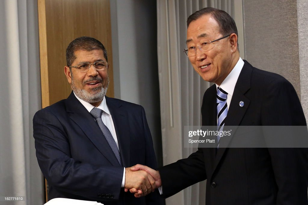 United Nations Secretary-General <a gi-track='captionPersonalityLinkClicked' href=/galleries/search?phrase=Ban+Ki-moon&family=editorial&specificpeople=206144 ng-click='$event.stopPropagation()'>Ban Ki-moon</a> (right) meets with Egyptian President Mohamed Mursi at the United Nations during a meeting at the General Assembly on September 25, 2012 in New York City. Over 120 prime ministers, presidents and monarchs are gathering this week at the U.N. for the annual meeting. This years focus among leaders will be the ongoing fighting in Syria with is beginning to threaten regional stability.