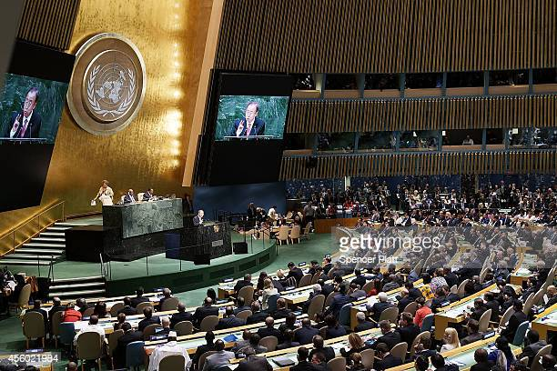 United Nations SecretaryGeneral Ban Kimoon opens the 69th Session of the United Nations General Assembly on September 24 2014 in New York City World...